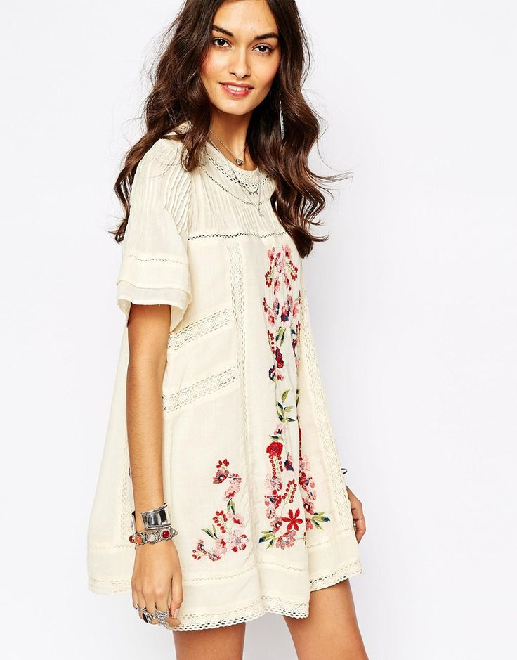 Free people white long sleeve dress with flowers
