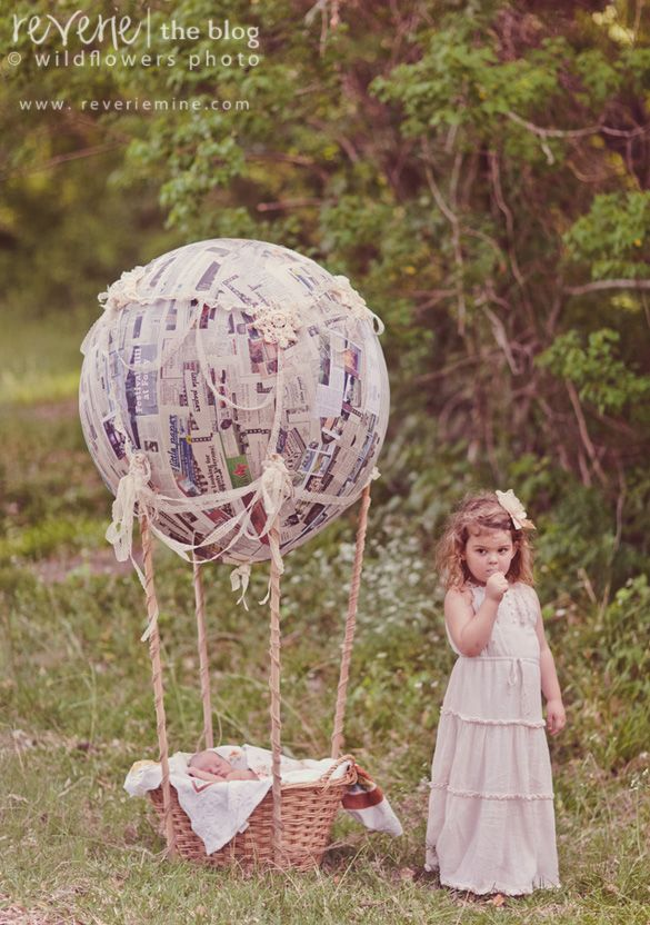 Themed newborn session involving imagination + paper mache ... by Joy Prouty! Come see + share with your friends! <3 http://www.reveriemine.com  #ReverieIdeas, Paper Mache Hot Air Balloon, Newborns Maternity Photography, Newborns Session, Newborn Photos, Newborns Photos Baskets, Newborns Hot Air Balloons, Newborns Balloons, Baby