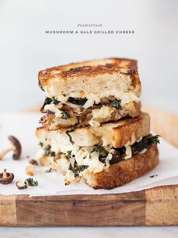 kale and mushroom grilled cheese