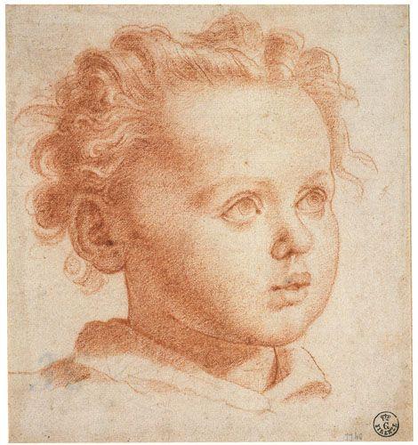 Santi di Tito - (1536-1603) - Testa di bambino - 1600 circa - Matita rossa su carta bianca - Firenze, Gabinetto Disegni e Stampe degli Uffizi