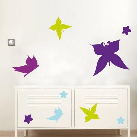 Stickers - bluelilou - Stickers Papillons du matin - 4e - 20x20 cm