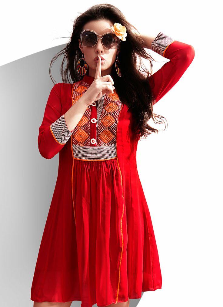 Royal Red Georgette #Kurti