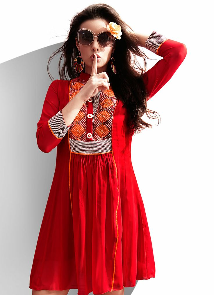 Royal Red Georgette #Kurti