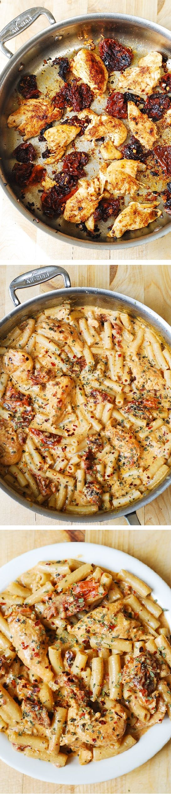 Chicken breast tenderloins sautéed with sun-dried tomatoes and penne pasta in a creamy mozzarella cheese sauce. (Made by @juliasalbum )