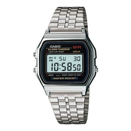 Reloj Casio A159wa Silver Vintage  Calendario-Plateado