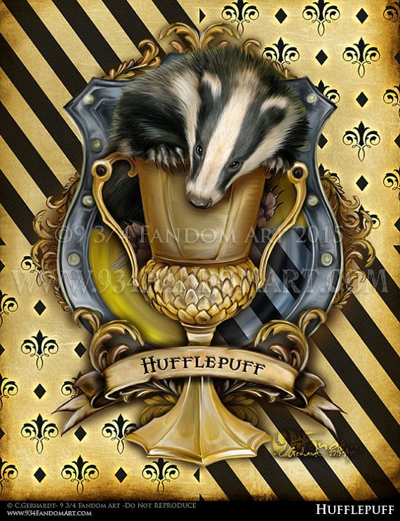 Hufflepuff the movie version. This version of Hufflepuffs Crest is of the houses colors. The colors on this Hufflepuff crest of yellow and black