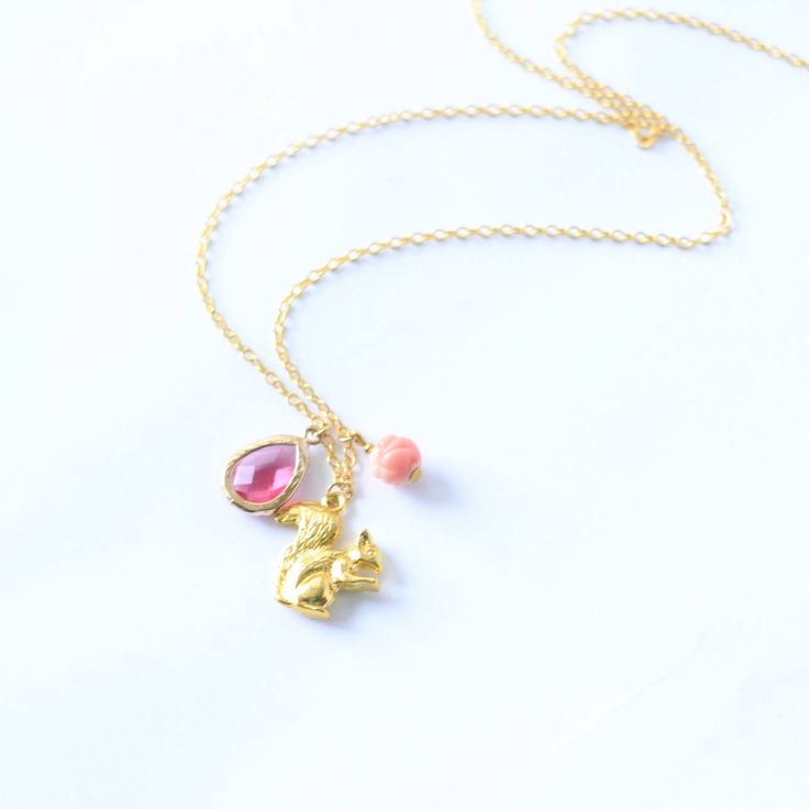 Gold Squirrel Necklace by thisandthatsparkle on Etsy