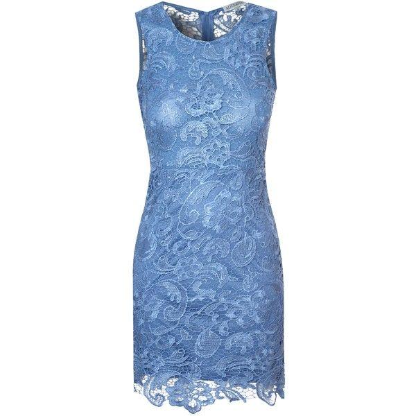 Alice & You Lace Bodycon Dress ($61) ❤ liked on Polyvore featuring dresses, short dresses, vestidos, denim, women, blue sleeveless dress, short blue dresses, mini dress and blue mini dress