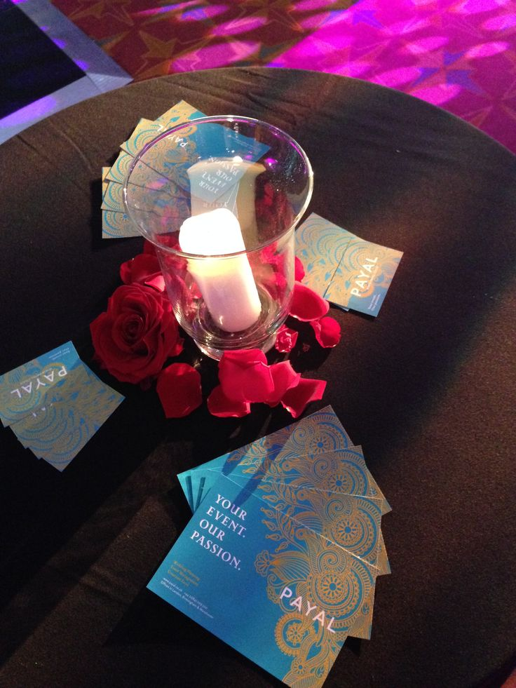 Hurricane Candles & Roses took centre stage on the poseur tables