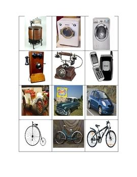 Technology, now and then...This is an activity showing 20 items with 3 pictures showing their development. Students need to sort the pictures and discuss the changes of the i...