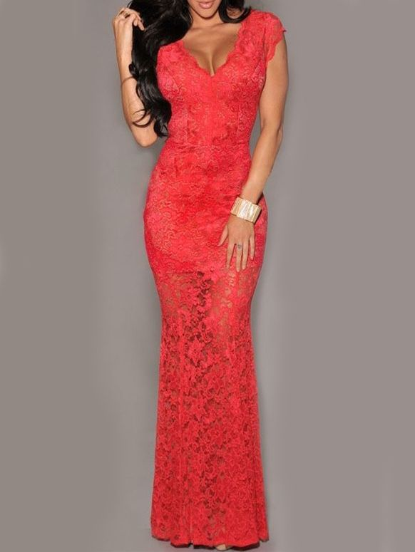 robe col V dos fendu -rouge  16.26