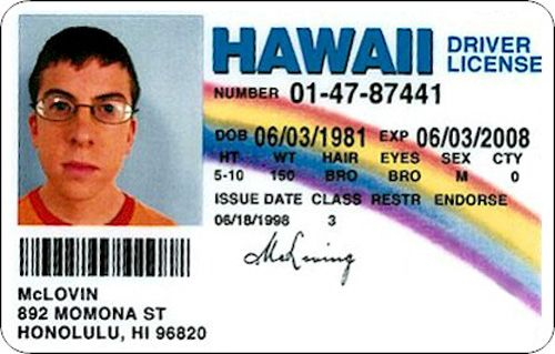 SuperbadFunny Funny, Refrig Magnets, Movie Character, So Funny, Driver Licen, Superbad Mclovin, Mclovin Hawaii, Cards, Funny People