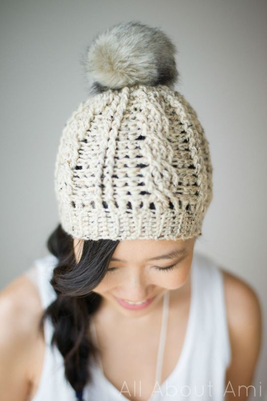 Cable slouchy beanie---free pattern