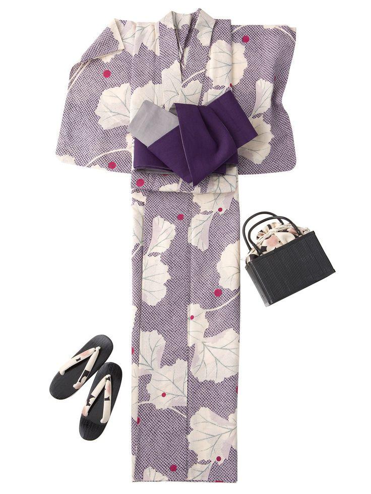 【ELLE】「紫織庵」紫匹田 蕗の葉浴衣|エル・オンライン