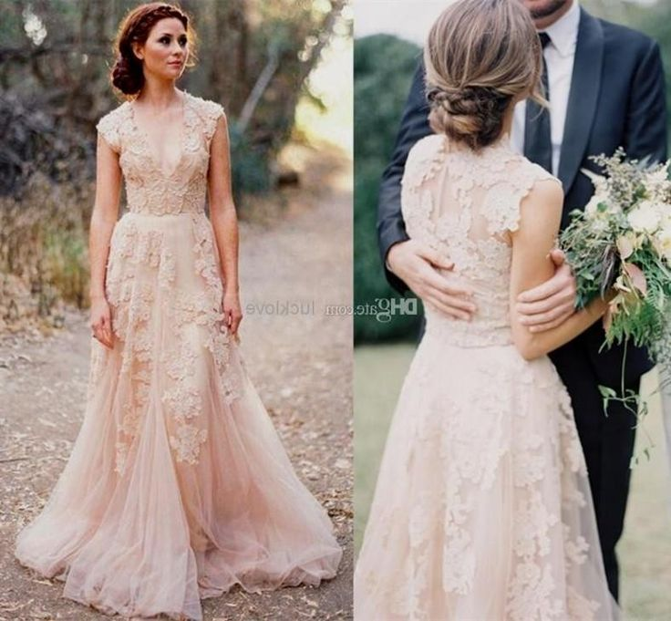 Wholesale Deep V Cap Sleeves Pink Lace Applique Tulle