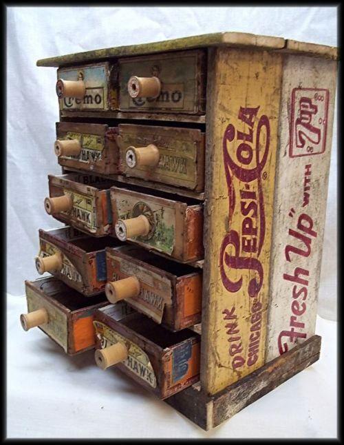 SO CUTE! soda pop crates & cigar box drawer with spool pulls - wonderful 'make-do' piece!