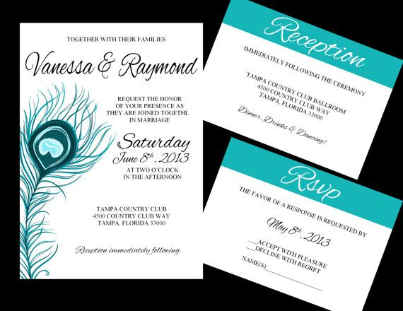 Peacock Feather Wedding Invitation: DIY Wedding Invitations Template