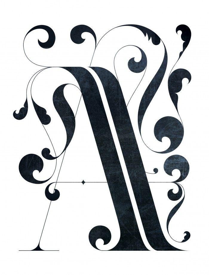 "Drop cap ""A"" with ornaments. © Thomas Amby Johansen / Thomas Amby Design, 2013."