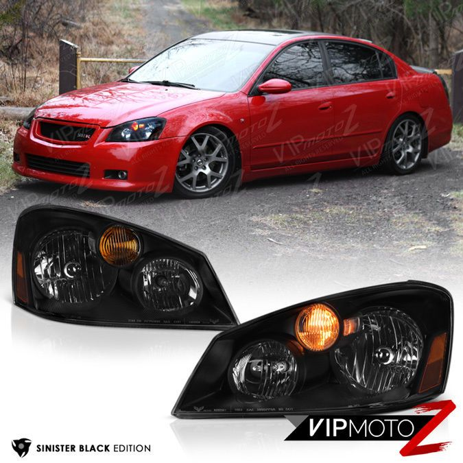 """SINISTER BLACK"" For 2005 2006 Nissan Altima Sedan Headlights Assembly HID Xenon #VIPMOTOZ"