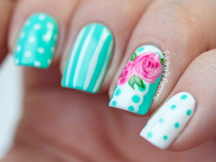 Vintage-Nail-Art: Sweet Aqua & White Nail Art with a Cute Rose - The 25+ Best Vintage Nail Art Ideas On Pinterest Casual Nails