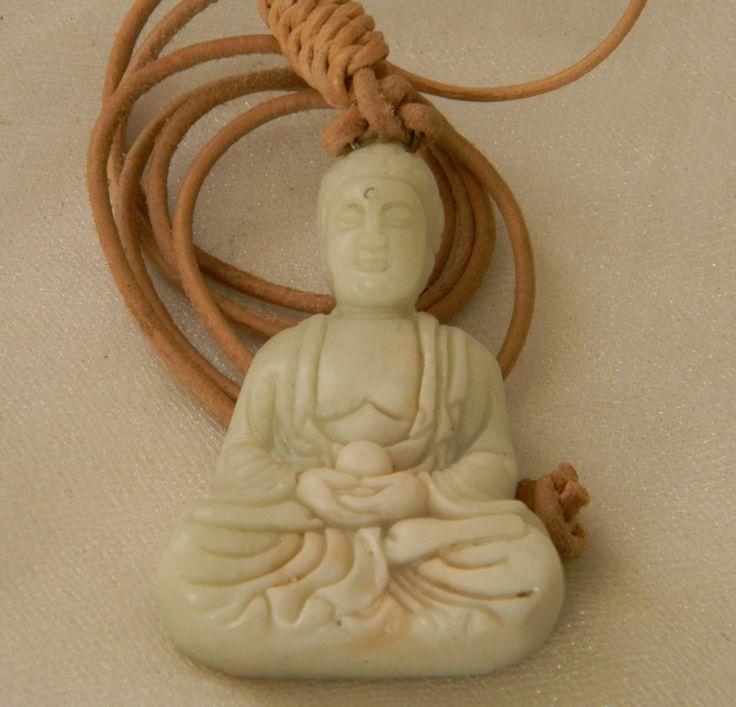 29 best religious icons images on pinterest religious icons white jade buddha pendant w leather cord necklace beaded jewelry meditation buddha buddhist mozeypictures Choice Image