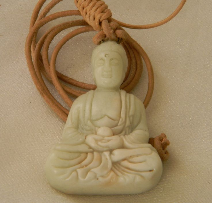 White jade Buddha pendant w leather cord necklace , beaded jewelry , meditation Buddha , Buddhist religious icon , Buddhist jewelry , jade by CloudPineStudio on Etsy