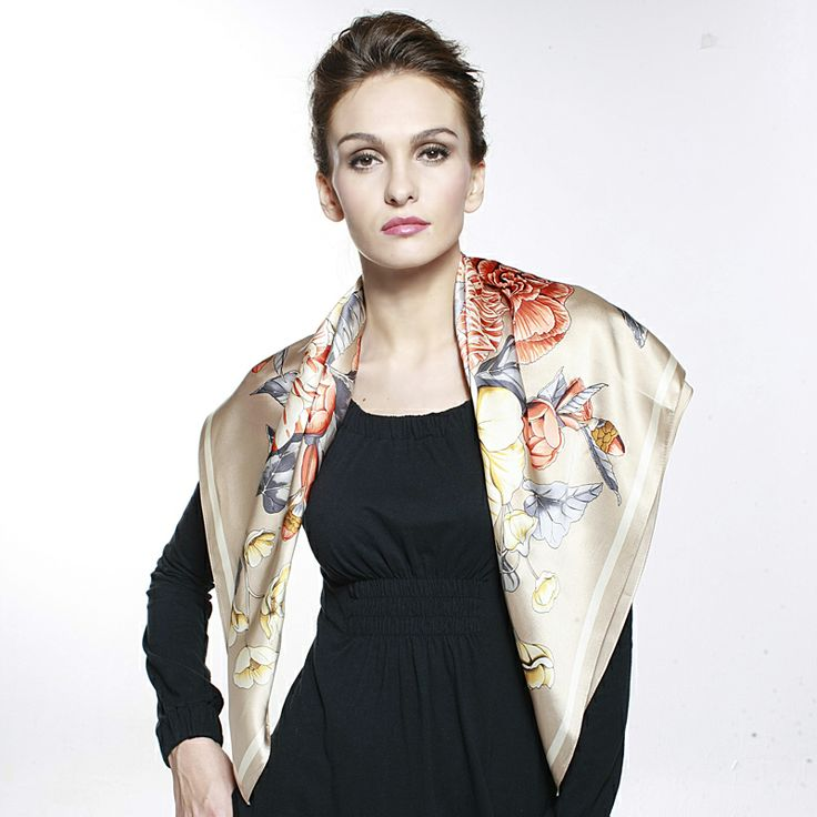 35.4x35.4inch - 90x90cm Silk Wrap -Floral C - Scarves & Wraps - Women