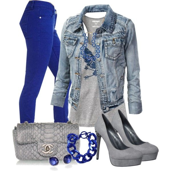 Electric Blue Jeans, created by wulanizer on Polyvore