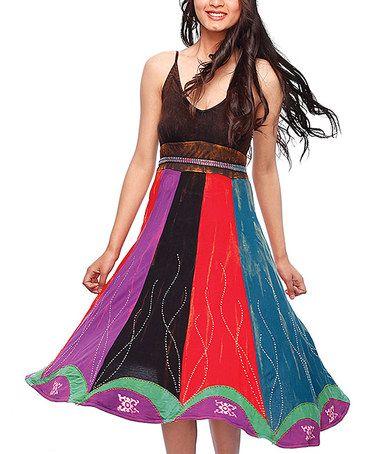 Brown & Red V-Neck Dress by Rising International #zulily #zulilyfinds