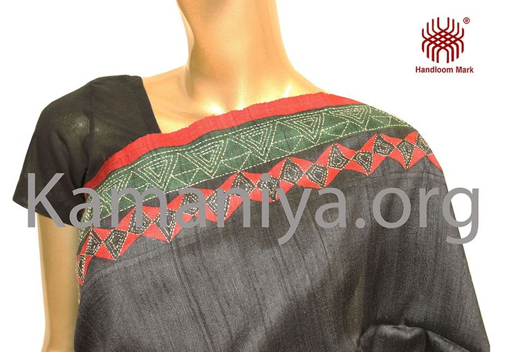 Tussar silk saree with Kantha embroidery