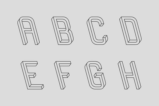"An alphabet made entirely of ""undecidable"" figures, two-dimensional objects that look like 3-D projections but, on closer examination, are geometrically impossible.      Frustro is the work of Martzi Hegedűs, a 25-year-old graphic designer at the Hungarian University of Fine Arts who was inspired to create a typeface inspired by Escher."
