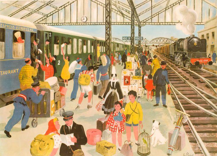 Affiche scolaire d'Hélène Poirié -  La Gare