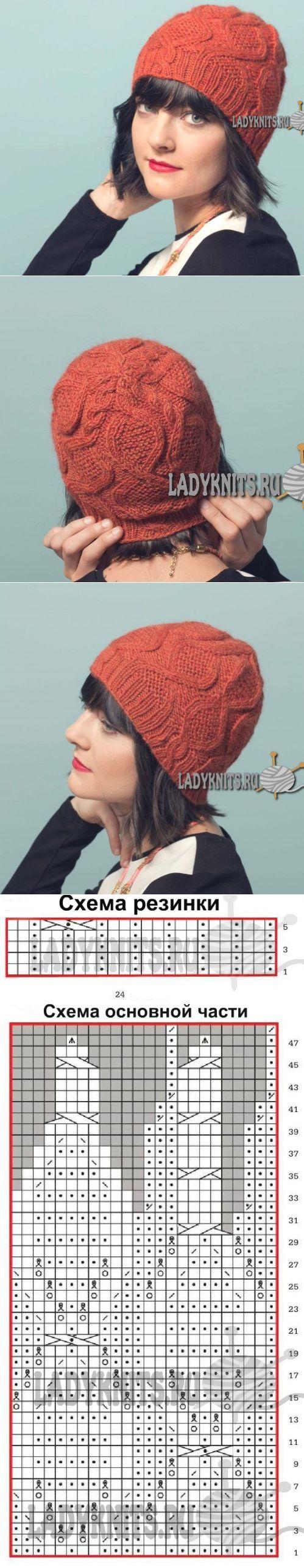 Вязаная спицами женская шапка с аранами