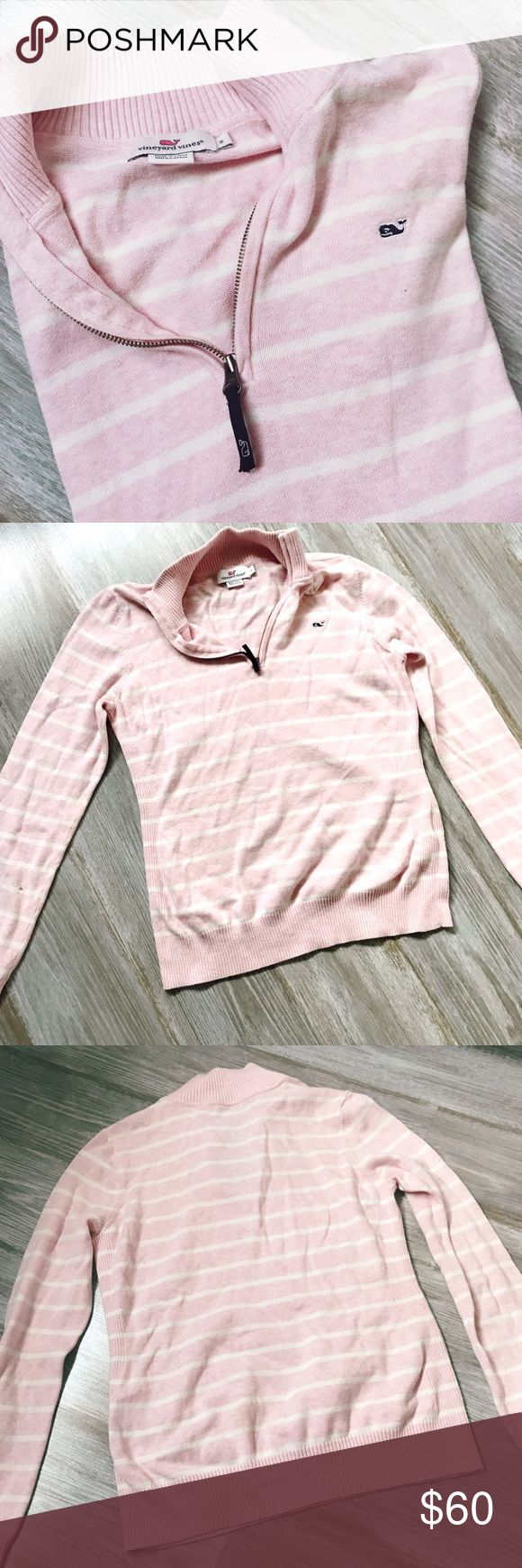 Vineyard Vines Cotton 1/4 Zip Sweater Pullover Vineyard Vines cotton quarter-zip in Pink with White Stripes. So soft and perfect for a wide range of temperatures. Features a collar, knit cuffs, and a knit hem. Size small and only worn twice! Vineyard Vines Sweaters
