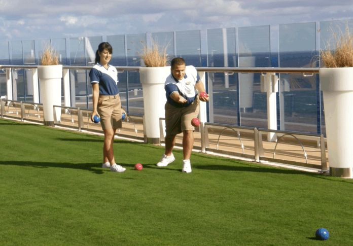 #Celebrity Solstice | Lawn Bowls on the Lido Deck ....that's real grass!