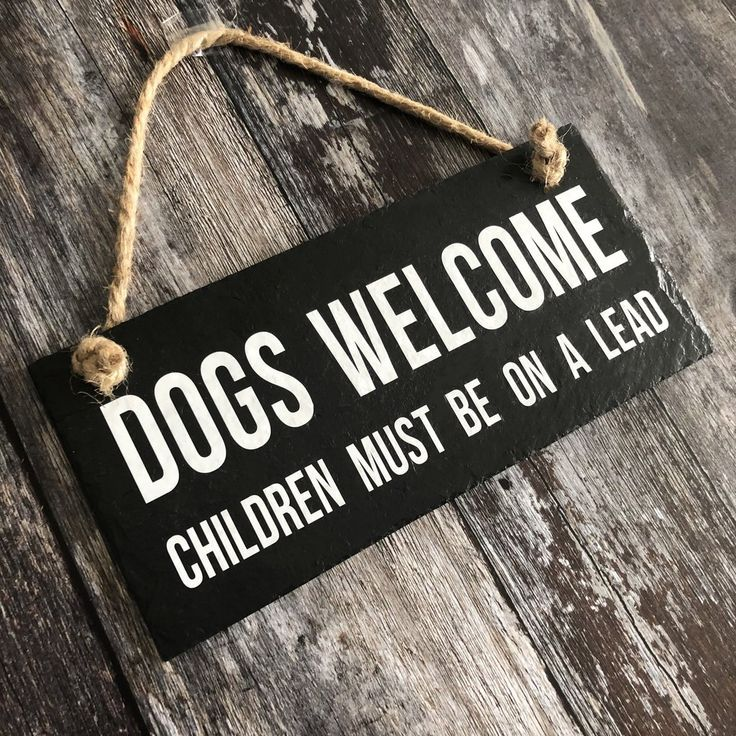 Dogs sign. Children must be on a lead Funny