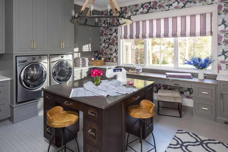 Transitional Laundry Room with Custom Flat Roman Shades, Built-in bookshelf, Carpet, District Stool, travertine tile floors