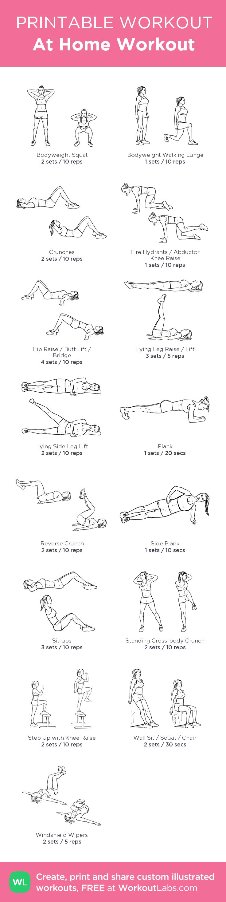 At Home Workout:my visual workout created at WorkoutLabs.com • Click through to customize and download as a FREE PDF! #customworkout
