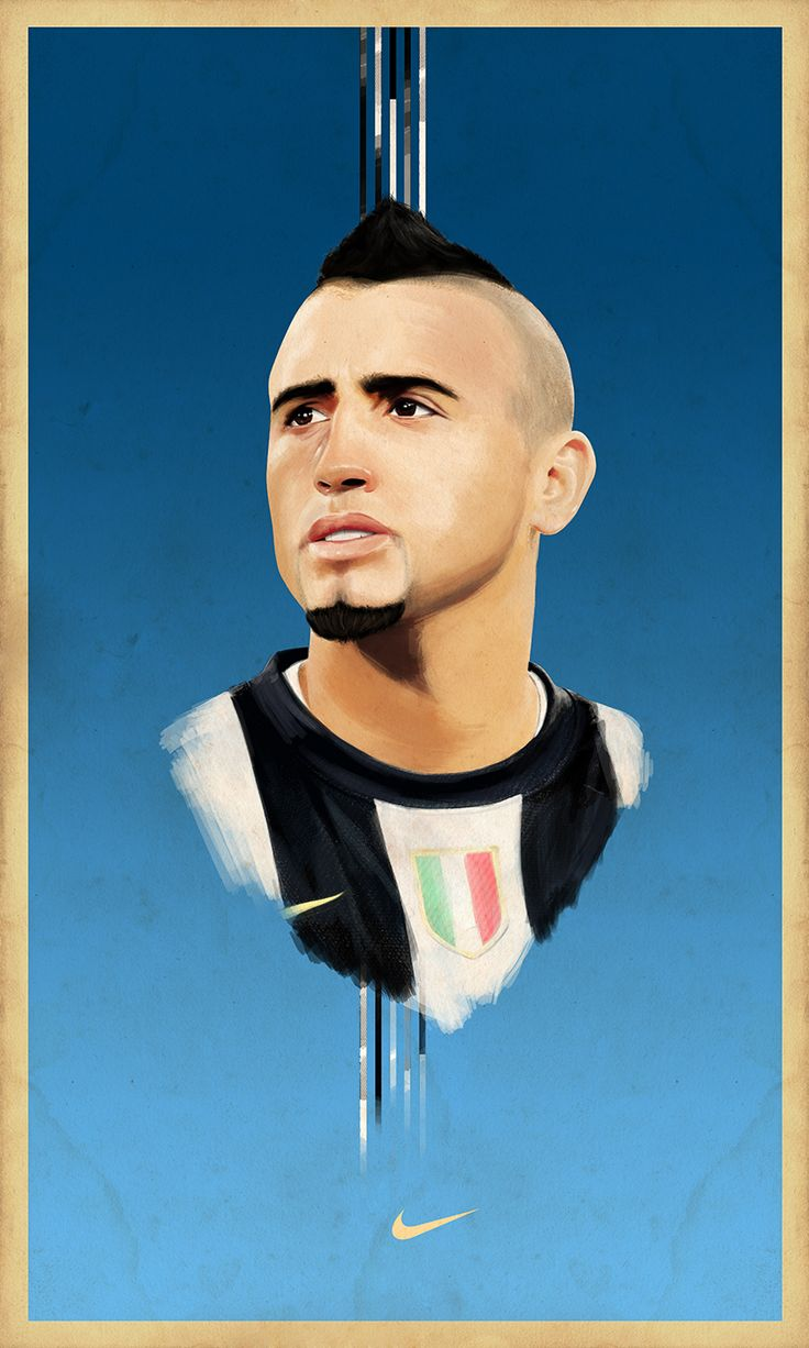 Illustration of Arturo Vidal from Juventus F.C and Chilean Selection of football (Soccer), made in Photoshop with Wacom intuos 5.  60x100 Cms, 200 DPI