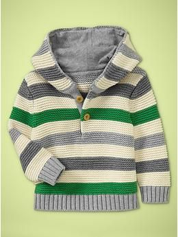 Green & Gray Baby Hooded Sweater - Gap...Amie we need to find this adorable thing for Lucas!