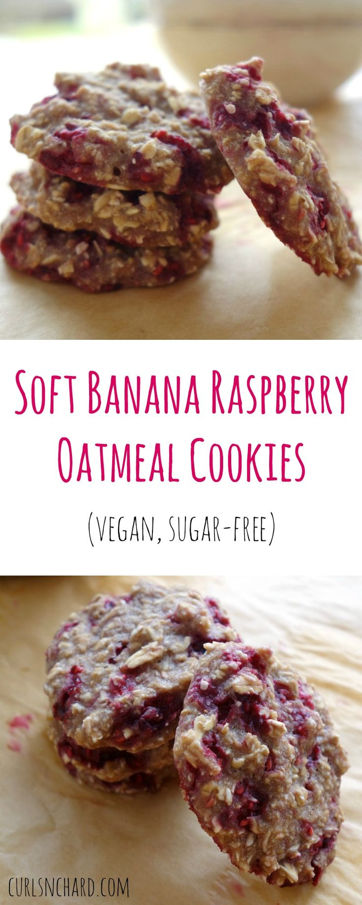Soft Banana Raspberry Oatmeal Cookies adapted from Chloe Langer's E-Book. A vegan, quick and simple sugar-free treat made with just 3 ingredients!