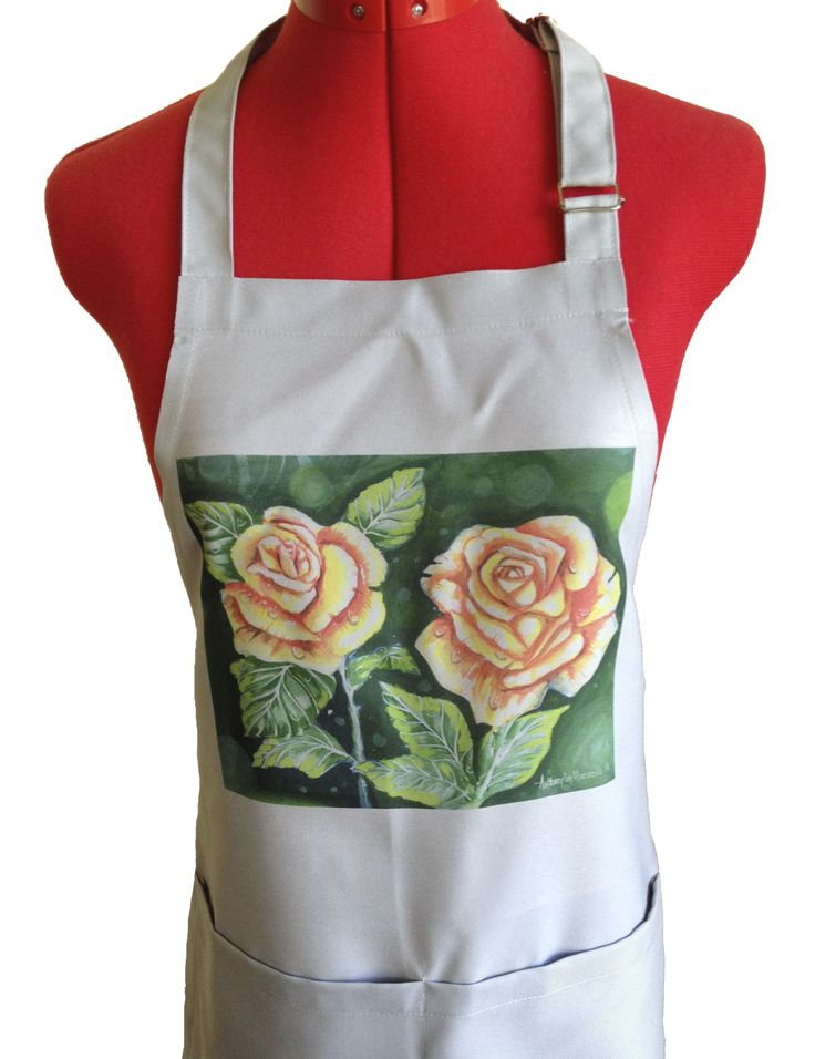 Masterchef style apron, colour stone. Artwork painted in acrylic 'Roses for Mum'  Size 850x670mm with adjustable neckstraps and 2 front pockets. http://jennoliart.com.au/promotional-products/printed-apron/