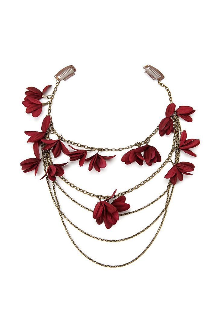 draped chain floral hairclips