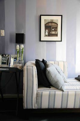 apartment in South Yarra. The stripes on the walls were painted in Sydney Harbour Paints Nebular blue (low sheen and pearl gloss), which gave the tiny space the feel of a French salon. (Curiously, it also made the space seem larger.)