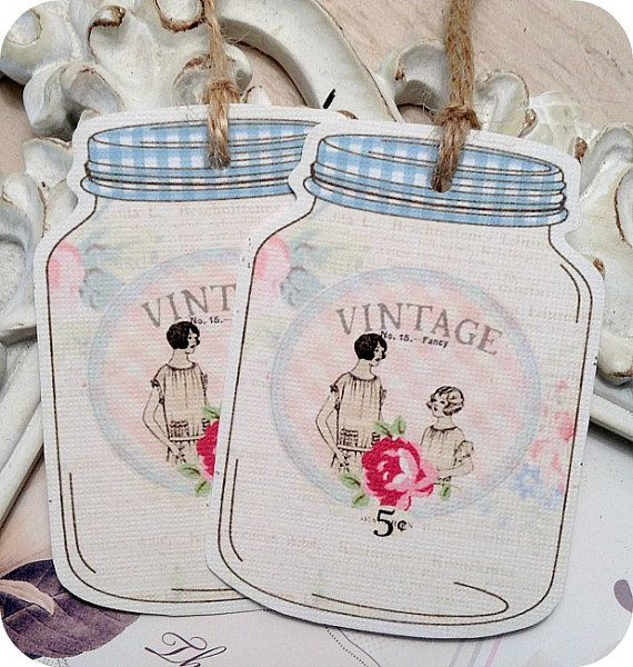 Tags cadeau pot Mason minable  Set de 6  par LittlePaperFarmhouse