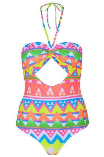 Maillot de bain une pièce à imprimé  géométrique multicolor fluo vert, rose, orange, rose, blanc, jaune, TopShop
