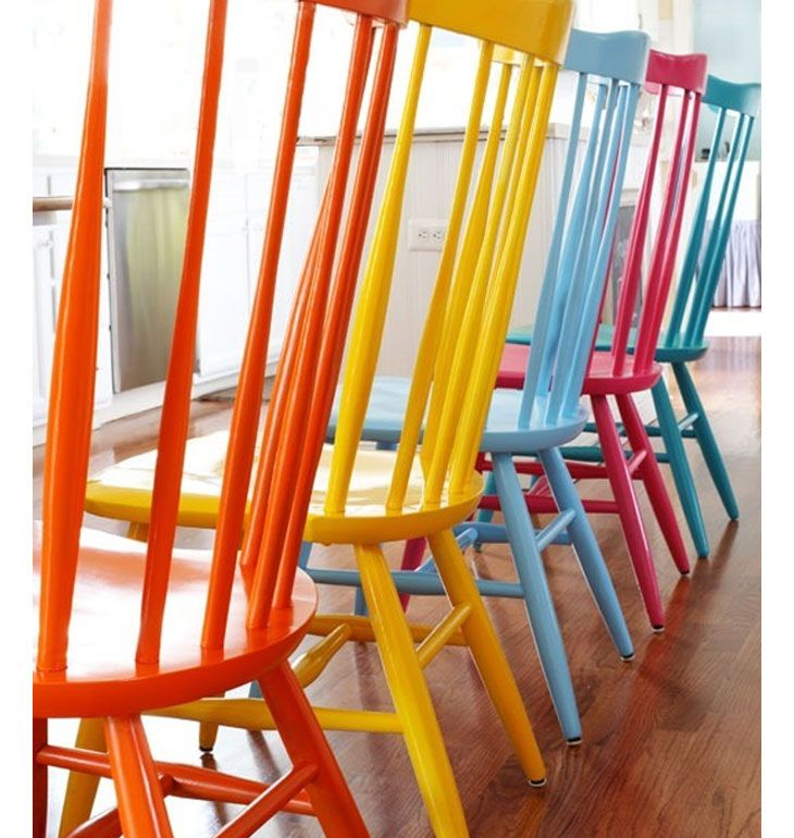 Spray Painted Wood Chairs | DIY Home Decor Ideas on a Budget | Click for Tutorial | DIY  Home Decorating on a Budget