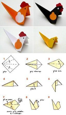 Gallina de origami paso a paso