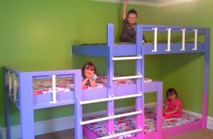 Bunk beds for three kids room pinterest bunk bed for 3 kids beds one room