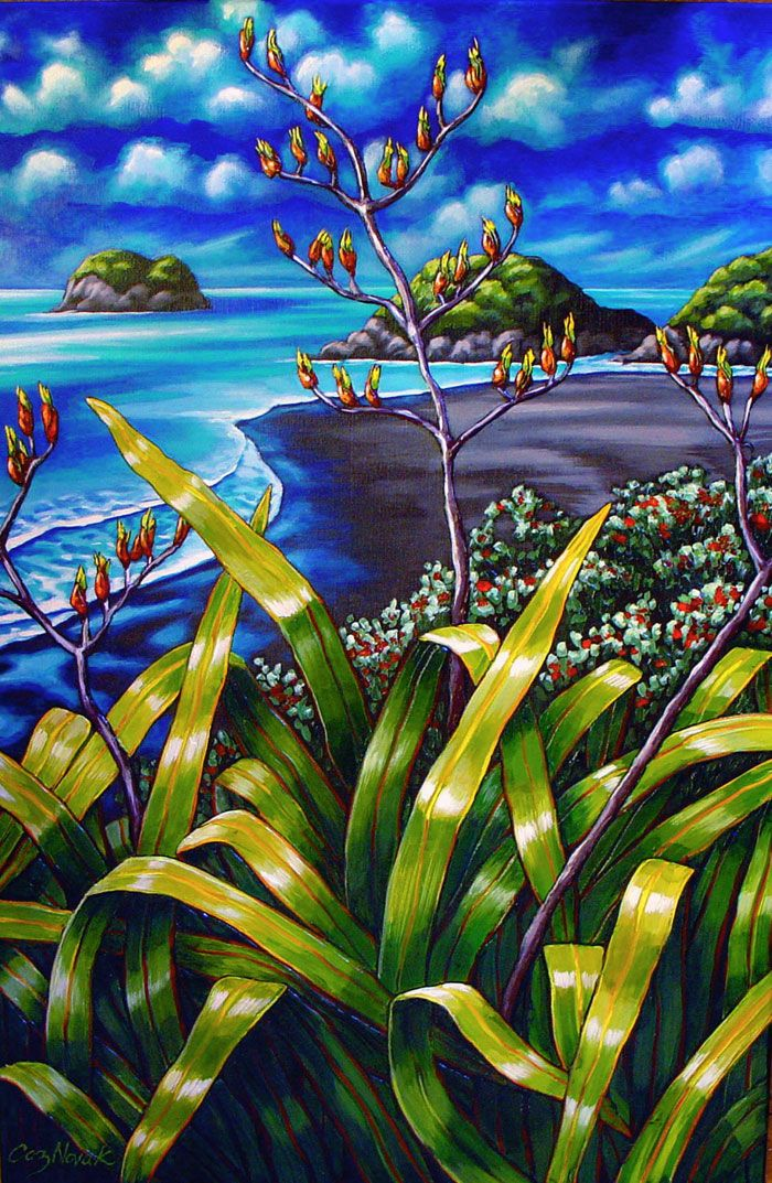 Celebrating New Zealand's coastline and iconic native plants, Pinned by Ian Anderson http://ianandersonfineart.com